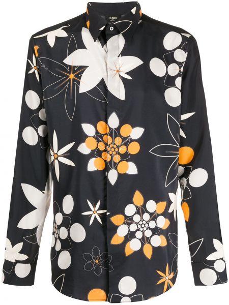 Koszula z długim rękawem jedwab długa Fendi