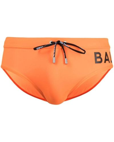 Оранжевые пляжные плавки-боксеры с поясом Balmain