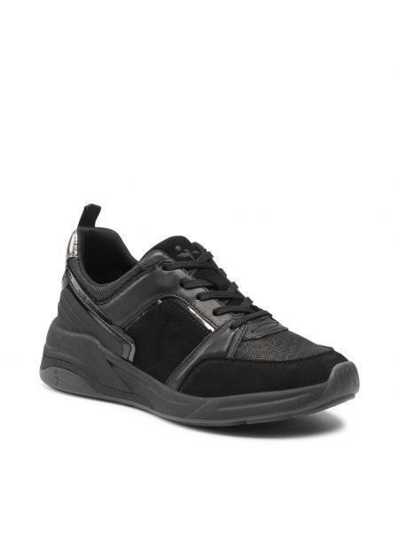 Buty sportowe skorzane - czarne Tamaris