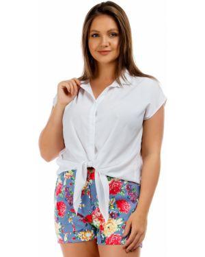 Летние брюки стрейч в цветочный принт Liza Fashion