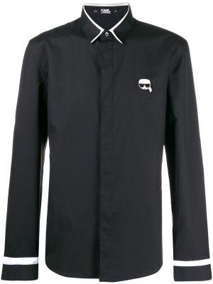 Koszula slim z długimi rękawami - czarna Karl Lagerfeld