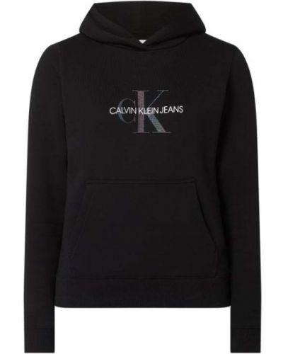 Czarna bluza kangurka z kapturem bawełniana Calvin Klein Jeans