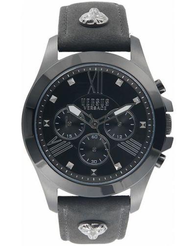 Czarny zegarek skórzany Versus Versace
