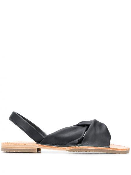 Czarne sandały skorzane płaska podeszwa Hereu