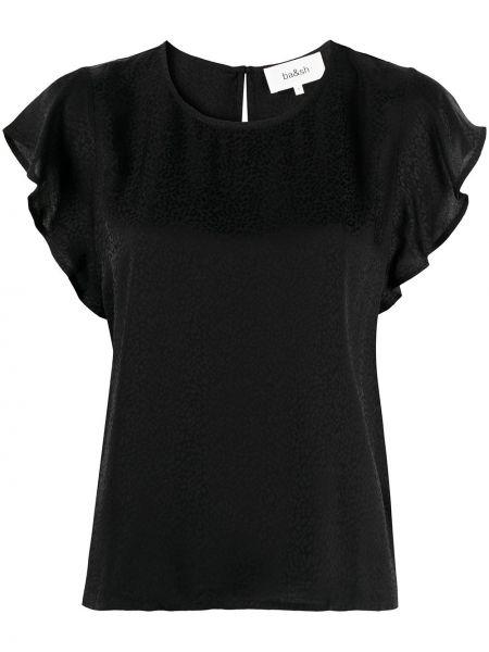 С рукавами черная блузка с вырезом Ba&sh