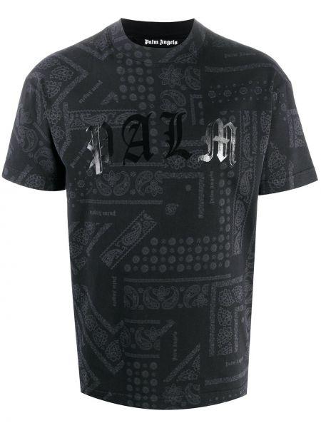 Czarny bawełna bawełna z rękawami koszula krótkie z krótkim rękawem Palm Angels