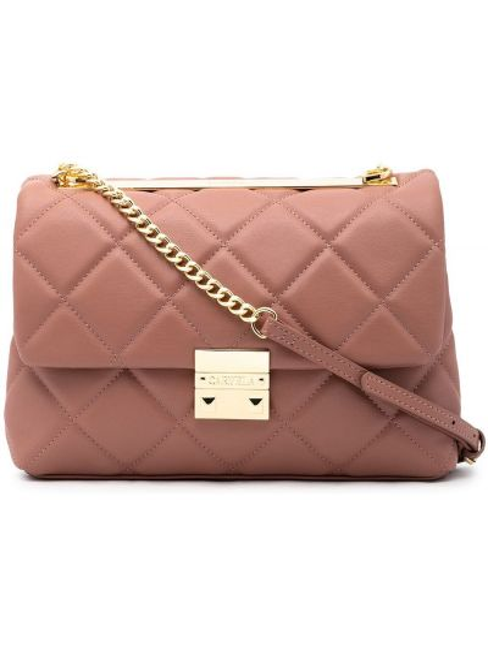 Różowa torebka na łańcuszku skórzana pikowana Carvela