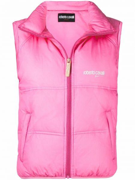 Розовая дутая жилетка с воротником-стойка с принтом Roberto Cavalli
