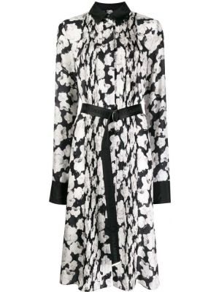 Плиссированное шелковое черное платье миди Karl Lagerfeld