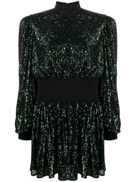 Зеленое платье с пайетками с поясом Balmain
