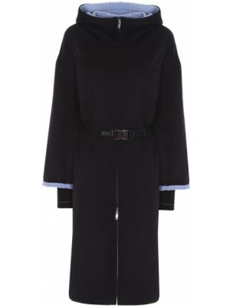 Свободное шерстяное пальто с капюшоном с воротником айвори Prada