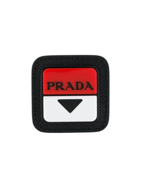 Кожаная брошь - черная Prada