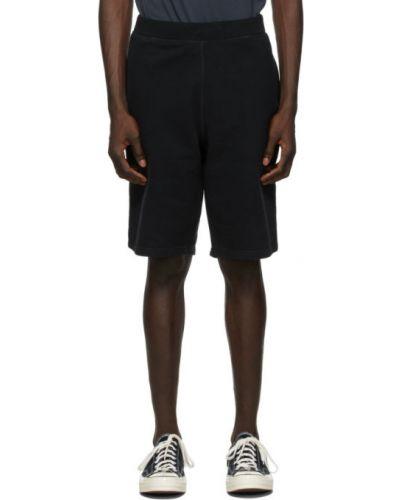 Махровые черные шорты с карманами Sunspel