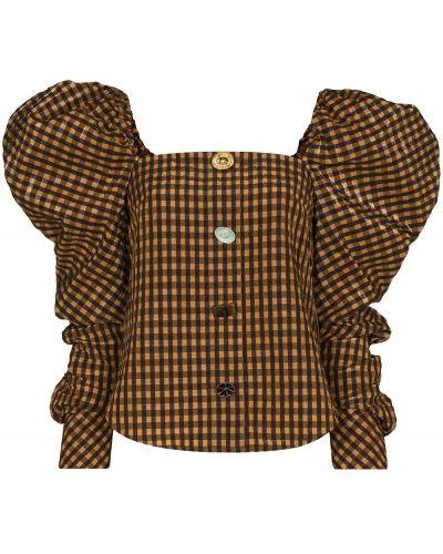 Коричневая блузка с потайной застежкой Rejina Pyo
