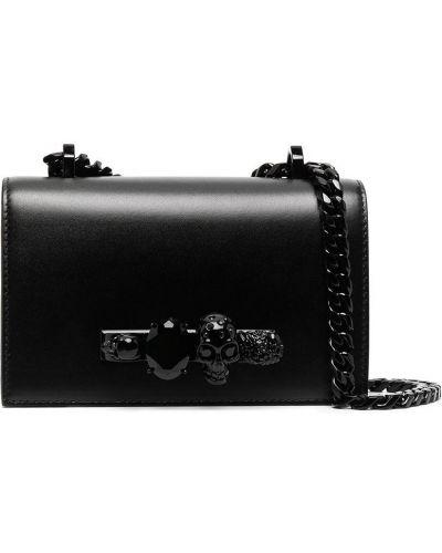 Черный кожаный сумка на цепочке с черепами Alexander Mcqueen