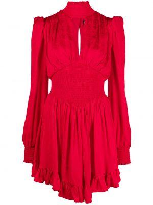 Красное платье макси с поясом с воротником Versace Jeans Couture