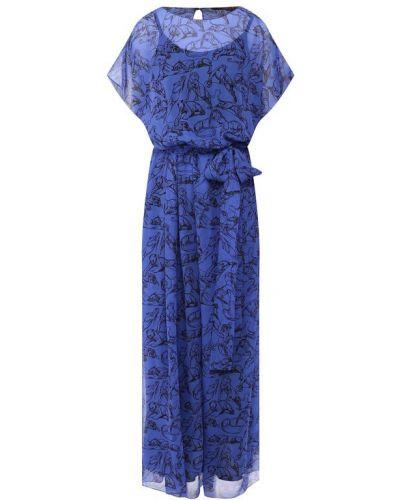 Платье шелковое синее Chapurin