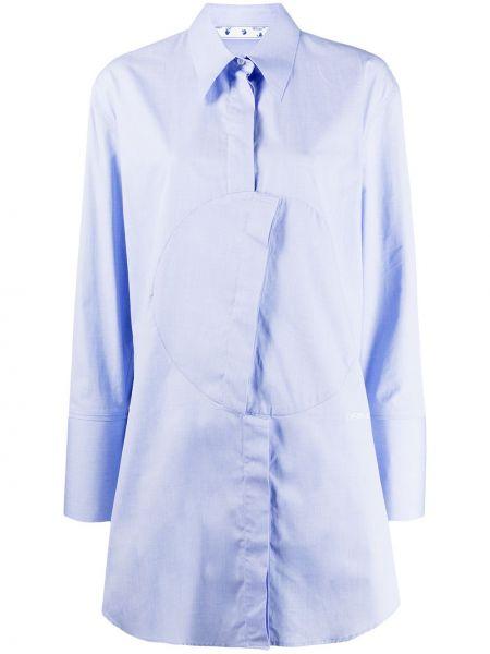 Niebieski asymetryczny klasyczna koszula z kołnierzem z haftem Off-white