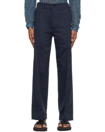 Черные льняные брюки с карманами Nicholas Daley