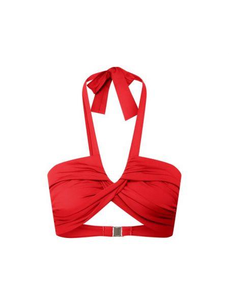 Текстильный красный купальник раздельный с драпировкой Natayakim
