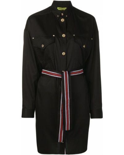 Черное платье макси на пуговицах Versace Jeans