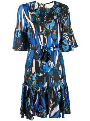 Шелковое с рукавами черное платье мини La Doublej