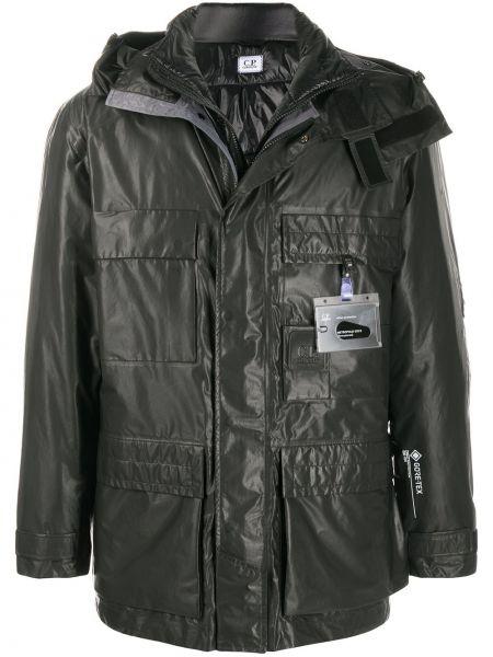 Czarny płaszcz przeciwdeszczowy z kieszeniami od płaszcza przeciwdeszczowego z długimi rękawami C.p. Company