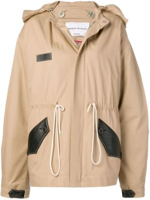Beżowy płaszcz wełniany z kapturem Sonia Rykiel