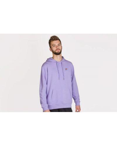 Fioletowa bluza kangurka z kapturem bawełniana Fila