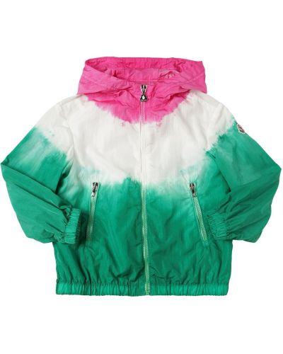 Нейлоновая зеленая куртка с капюшоном Moncler