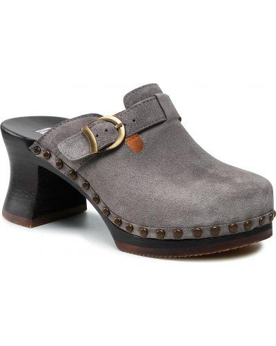 Szare sandały zamszowe Berkemann