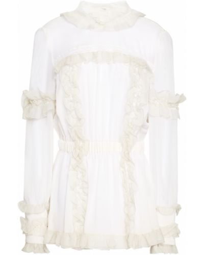 Бежевая кружевная шелковая блузка Dolce & Gabbana