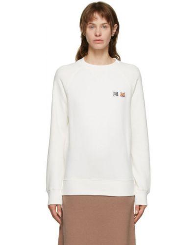 С рукавами махровый белый свитшот с воротником Maison Kitsuné