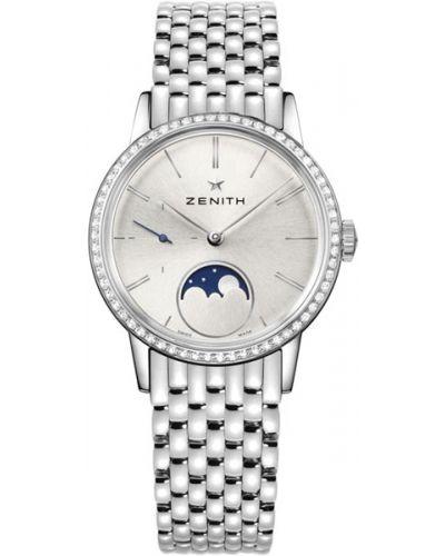 Водонепроницаемые часы с камнями серые Zenith