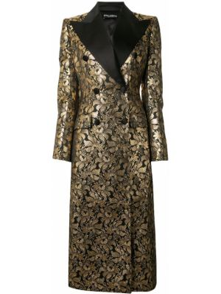Шелковое приталенное пальто золотое двубортное Dolce & Gabbana