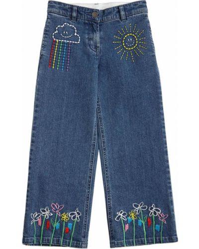 Джинсы с вышивкой эластичные на пуговицах Stella Mccartney Kids