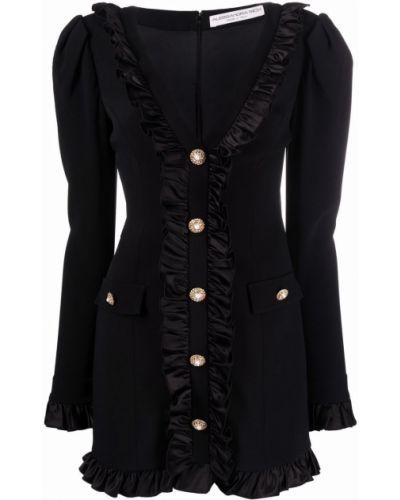 Шелковое черное платье мини с оборками Alessandra Rich