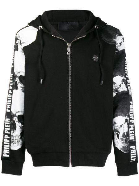 Prążkowana czarna kurtka bawełniana Philipp Plein