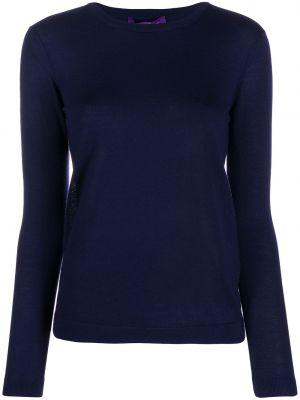 Приталенный кашемировый темно-синий пуловер с длинными рукавами Ralph Lauren