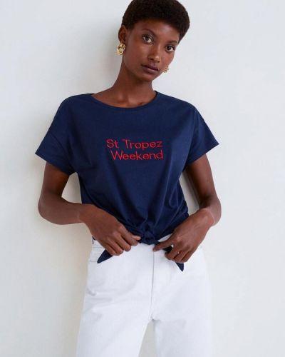 Синяя футболка 2019 Mango