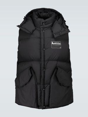 Пуховая черная жилетка с капюшоном с карманами оверсайз Moncler Genius