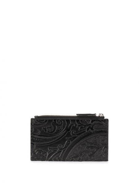 Кожаный черный кошелек прямоугольный на молнии Etro