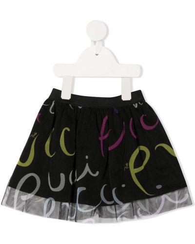 Ватная хлопковая черная юбка с подкладкой Emilio Pucci Junior