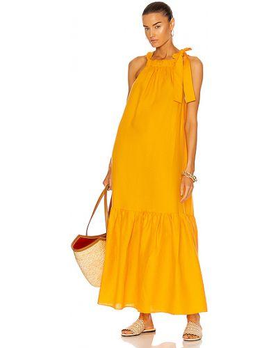 Льняное желтое платье с декольте Asceno