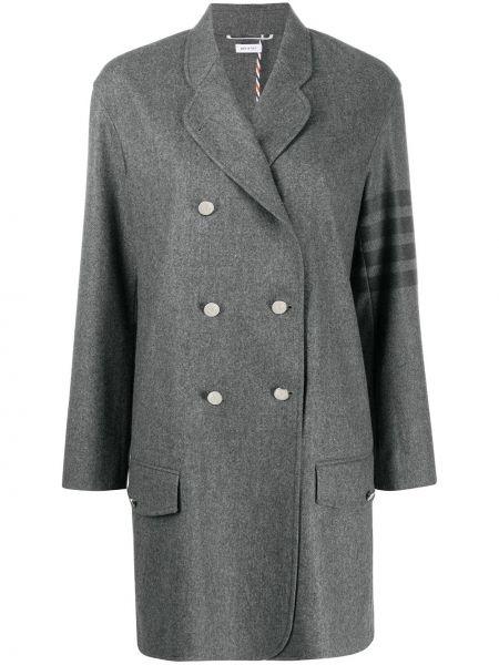 Серое кашемировое длинное пальто двубортное Thom Browne