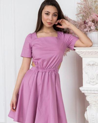 Розовое платье миди летнее Leo Pride
