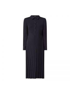 Niebieska sukienka midi rozkloszowana z długimi rękawami Someday