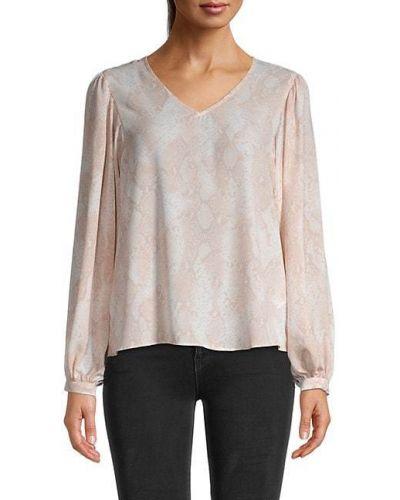 Персиковая блузка с длинными рукавами с V-образным вырезом T-tahari