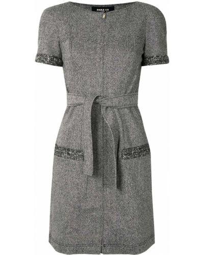Серое платье мини твидовое на молнии с вырезом Paule Ka