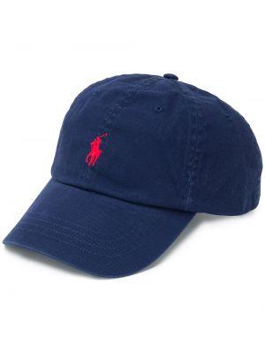 Niebieska czapka z haftem bawełniana Ralph Lauren